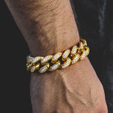 Big 20mm Full Iced Out 18k Gold Cuban Link Diamond Bracelet - Capital Bling Gold HipHop Jewelry