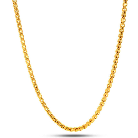 5mm Yellow Gold Round Box Chain - Capital Bling Gold HipHop Jewelry