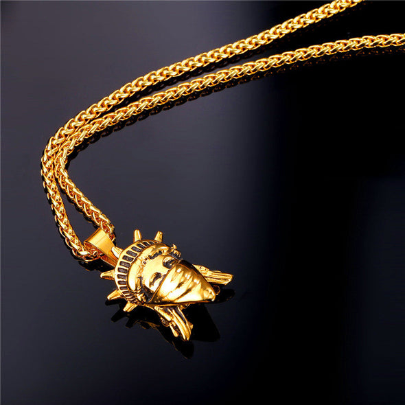 Yellow Gold Stature of Liberty Pendant / American Rebel Collection - Capital Bling Gold HipHop Jewelry
