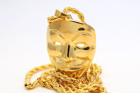 Anonymous Mask Pendant in Yellow Gold - Capital Bling Gold HipHop Jewelry