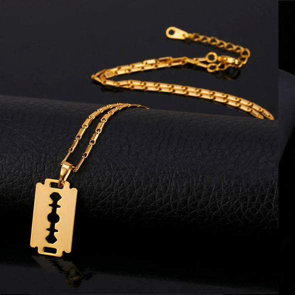 18k Gold Razor Blade Pendant (With Chain) - Capital Bling Gold HipHop Jewelry