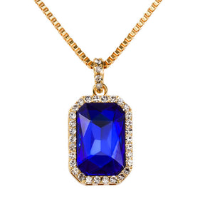 Blue Sapphire Yellow Gold Pendant Necklace - Capital Bling Gold HipHop Jewelry