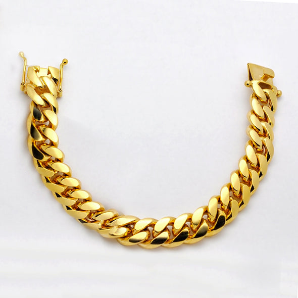 14k Gold Thick 15mm Cuban Link Bracelet - Capital Bling Gold HipHop Jewelry