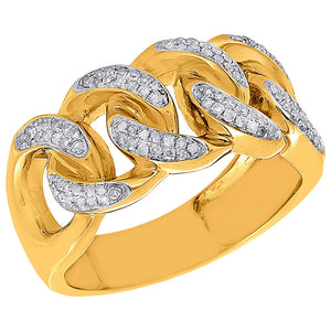 Yellow Gold Diamond Cuban Link Chain Ring-Ring--Capital Bling