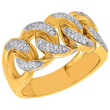 Yellow Gold Diamond Cuban Link Chain Ring - Capital Bling Gold HipHop Jewelry