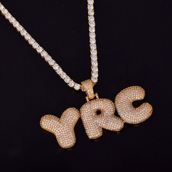 Custom 14k Gold Bubble Letter Necklace - Capital Bling Gold HipHop Jewelry