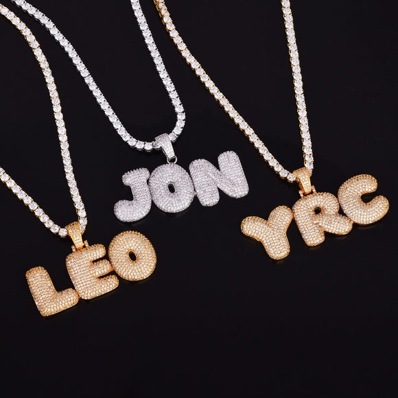 Custom Bubble Letter Necklace - Capital Bling Gold HipHop Jewelry