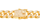 15mm Iced Out Cuban Link CZ Diamond Bracelet - Capital Bling Gold HipHop Jewelry