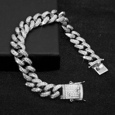 12mm White Gold Iced Out Cuban Link CZ Diamond Bracelet - Capital Bling Gold HipHop Jewelry