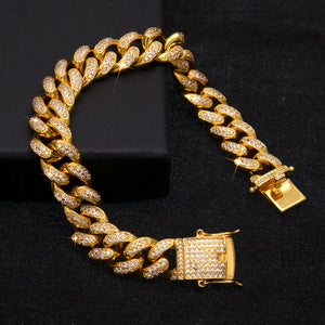 12mm Iced Out Cuban Link CZ Diamond Bracelet - Capital Bling Gold HipHop Jewelry