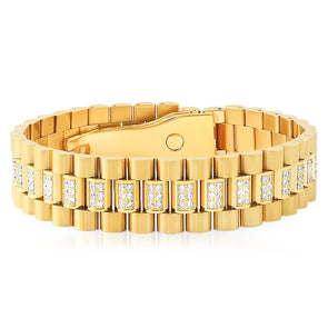 18k Gold Diamond Watch Link Bracelet - Capital Bling Gold HipHop Jewelry