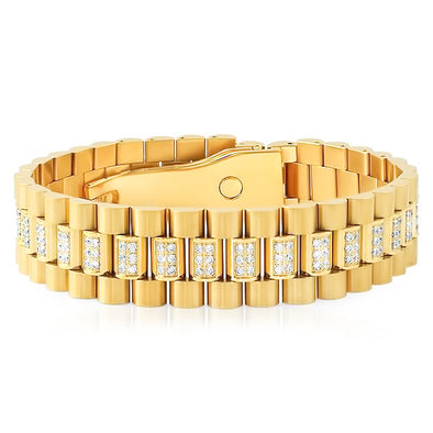 Diamond Watch Link Bracelet in Yellow Gold - Capital Bling Gold HipHop Jewelry