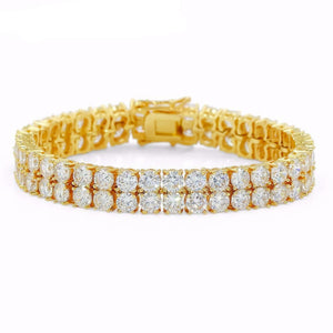 14k Gold Double Layer Tennis Bracelet - Capital Bling Gold HipHop Jewelry
