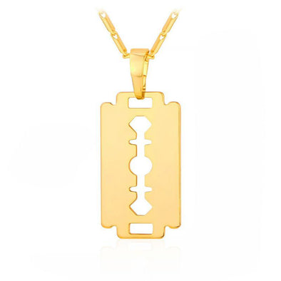 Razor Blade Pendant in Yellow Gold - Capital Bling Gold HipHop Jewelry