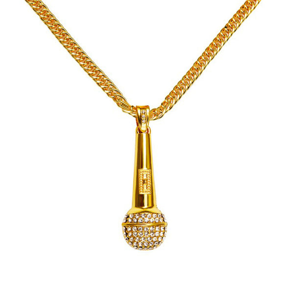 Yellow Gold Diamond Microphone Pendant - Capital Bling Gold HipHop Jewelry