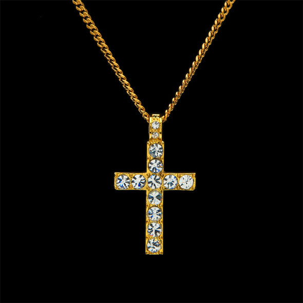 Diamond Cross Necklace in Yellow Gold - Capital Bling Gold HipHop Jewelry
