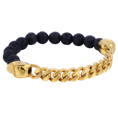 Yellow Gold Cuban & Lava Rock Skull Bracelet - Capital Bling Gold HipHop Jewelry