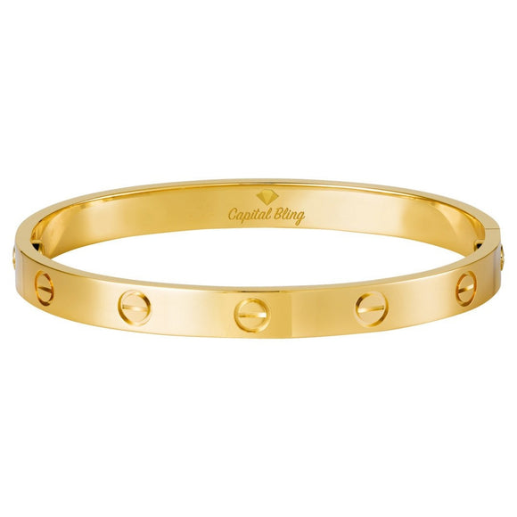 Gold Screw Designer Style Bracelet (18k Gold, Rose Gold, Silver) - Capital Bling Gold HipHop Jewelry