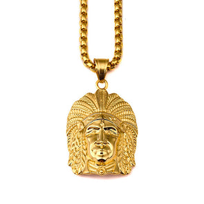 18k Gold Native American Chief Pendant (witch chain) - Capital Bling Gold HipHop Jewelry