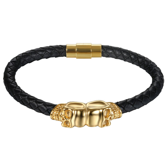 18k Gold & Leather Skull Bracelet - Capital Bling Gold HipHop Jewelry