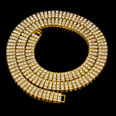 12mm 14k Gold Triple Row Tennis Chain - Capital Bling Gold HipHop Jewelry