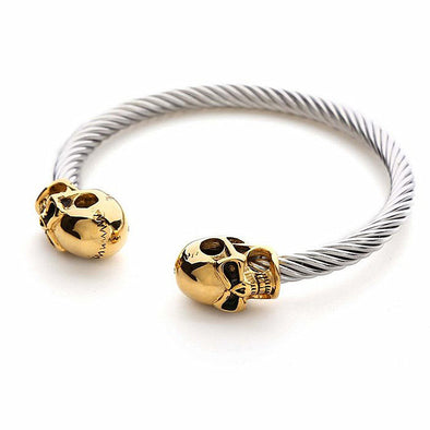 14k Yellow Gold & Stainless Steel Skull Bracelet - Capital Bling Gold HipHop Jewelry