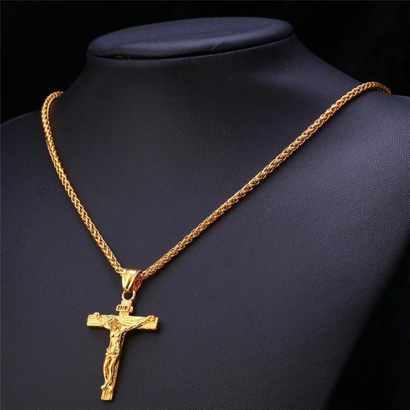 Jesus Piece Cross in Yellow Gold - Capital Bling Gold HipHop Jewelry