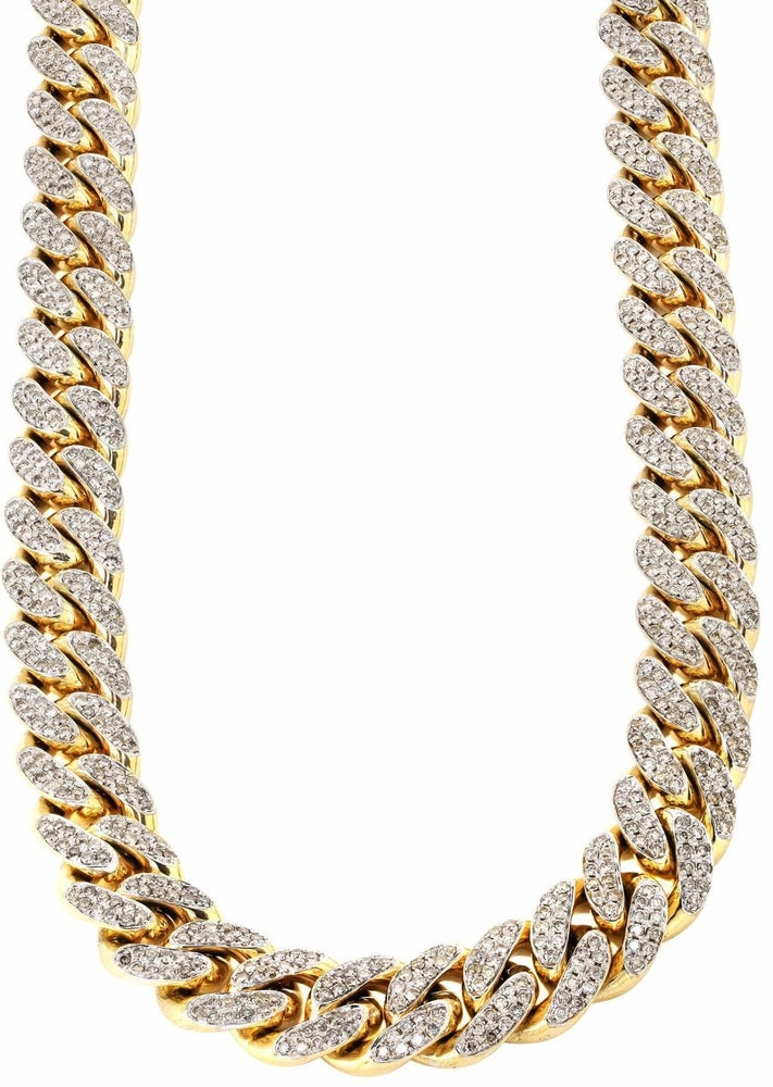 products yellow real original mens ct and diamond link cuban mm finish miami chain necklace collections pendants chains image gold