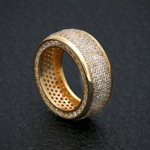 14k Gold Flooded Bling Ring - Capital Bling Gold HipHop Jewelry
