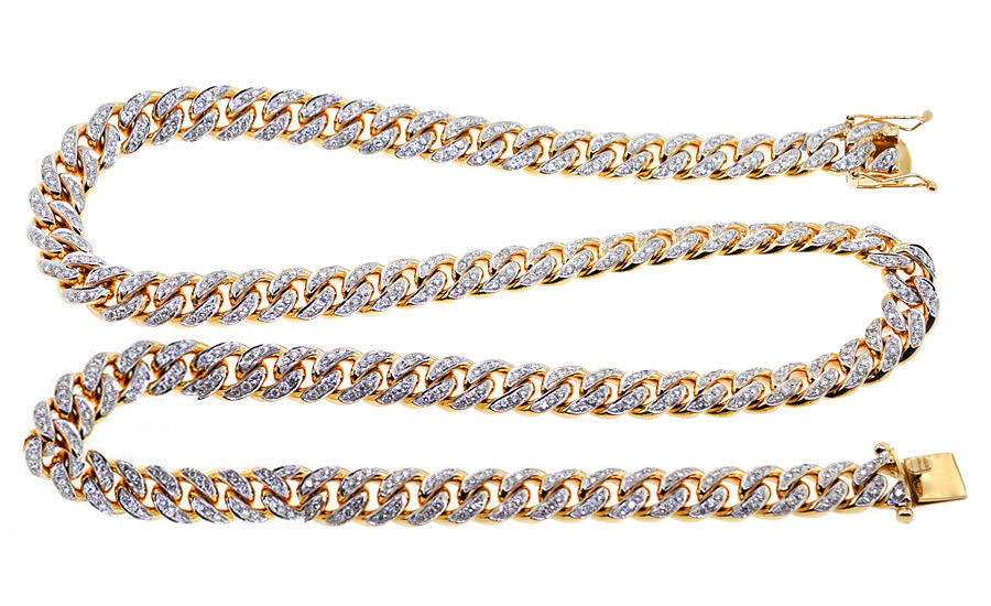 yellow three s mens set prong chains real diamond men in genuine necklace nck row chain ct gold
