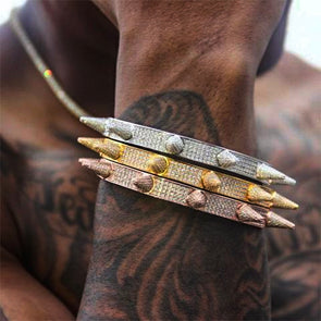 Diamond Spike Bracelets in Yellow & Rose Gold - Capital Bling Gold HipHop Jewelry