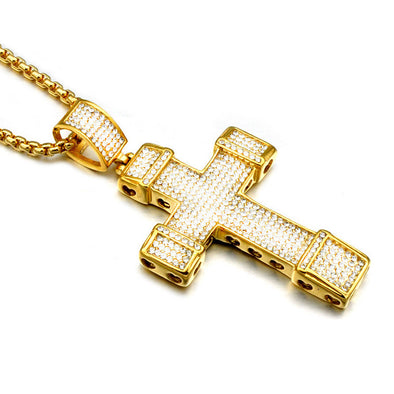 Large Iced Out Bling Cross (with chain) - Capital Bling Gold HipHop Jewelry