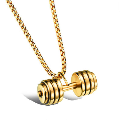 14k Gold Dumbbell Weight Pendant (With Chain) - Capital Bling Gold HipHop Jewelry