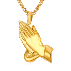 14k Gold Praying Hands Pendant W/ Chain - Capital Bling Gold HipHop Jewelry