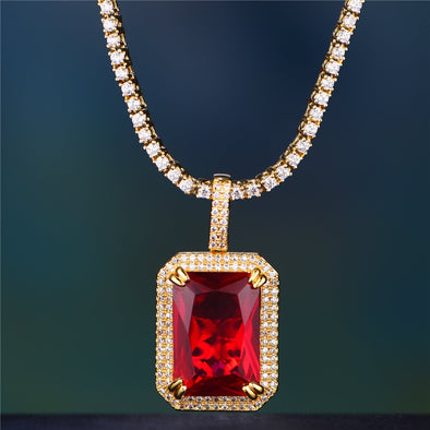 Red Ruby Yellow Gold Pendant Necklace - Capital Bling Gold HipHop Jewelry