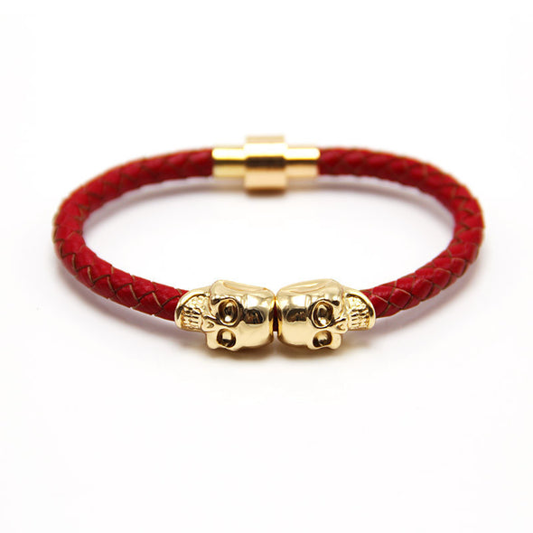 Leather Skull Bracelet in Yellow And White Gold - Capital Bling Gold HipHop Jewelry