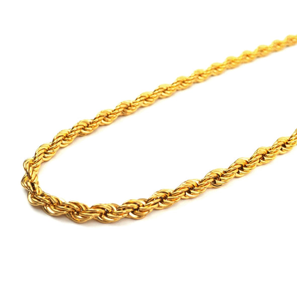 6mm Yellow Gold Dookie Rope Chain - Capital Bling Gold HipHop Jewelry