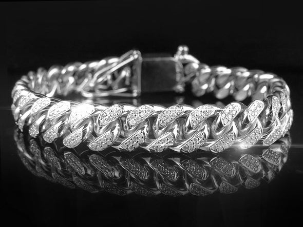 Silver Iced Out Cuban Link Bracelet - Capital Bling Gold HipHop Jewelry