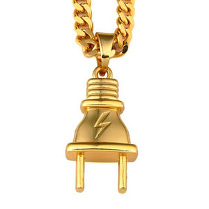 14k Gold Plug Pendant (with chain) - Capital Bling Gold HipHop Jewelry