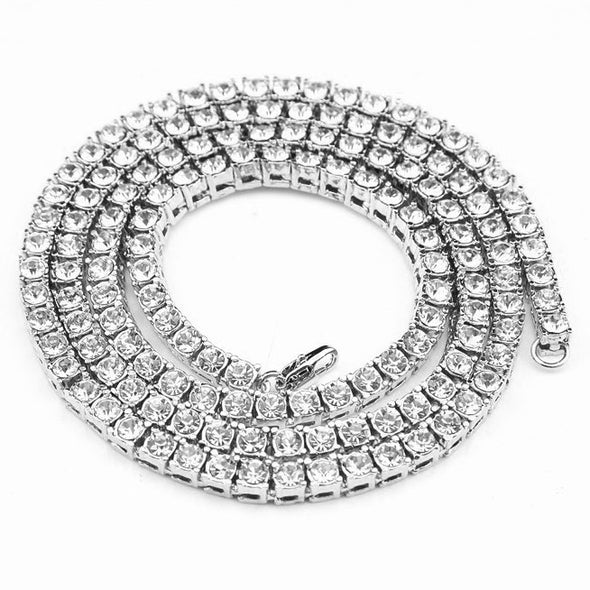 5mm White Gold Single Row CZ Tennis Chain - Capital Bling Gold HipHop Jewelry