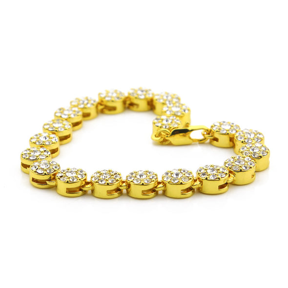 14k Gold Cluster Chain Style Bracelet - Capital Bling Gold HipHop Jewelry