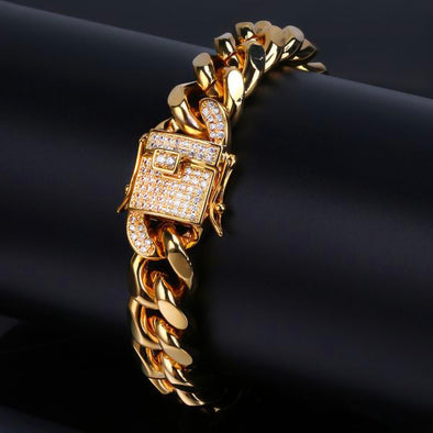 Diamond Clasp 14k Gold Cuban Link Chain Bracelet - Capital Bling Gold HipHop Jewelry