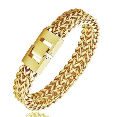 Double Franco Chain Bracelet (10mm) in Yellow Gold - Capital Bling Gold HipHop Jewelry