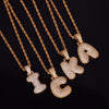 "14k Gold ""R"" Bubble Letter Necklace - Capital Bling Gold HipHop Jewelry"