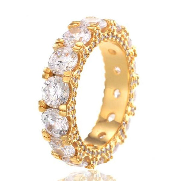 14k Gold 5mm Single Row Diamond Band Ring - Capital Bling Gold HipHop Jewelry