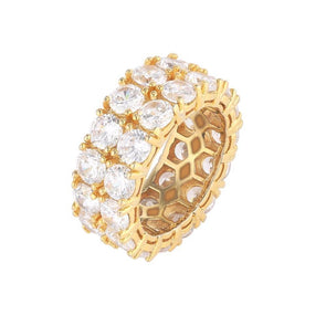 14k Gold 10mm Double Row Diamond Band Ring - Capital Bling Gold HipHop Jewelry