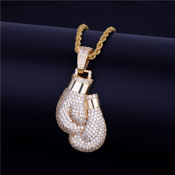 Boxing Gloves Campaign Pendant in Yellow Gold - Capital Bling Gold HipHop Jewelry