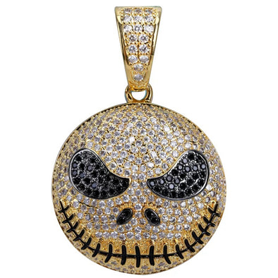 (Limited Edition) 14k Iced Out Jack Skellington / Nightmare Before Christmas Pendant Necklace - Capital Bling Gold HipHop Jewelry