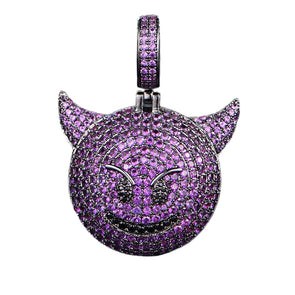 Iced Out Purple Devil Emoji Pendant Necklace - Capital Bling Gold HipHop Jewelry