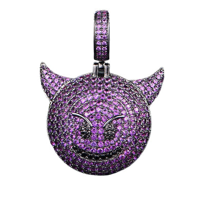 Purple Diamond Devil Emoji Pendant - Capital Bling Gold HipHop Jewelry